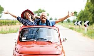 Couple in mini car