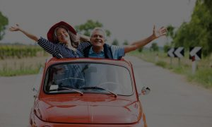 Couple in mini car with overlay