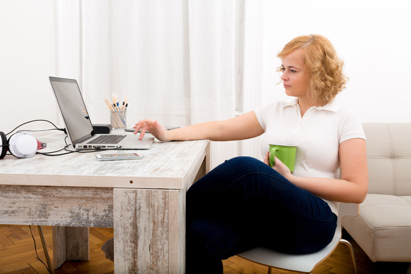 Woman in the home office