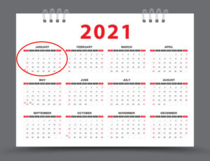 calendar 2021 january circles