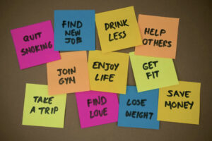 pin board with intentions